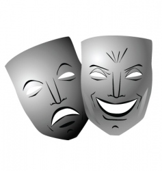 Ter comedy and tragedy masks vector