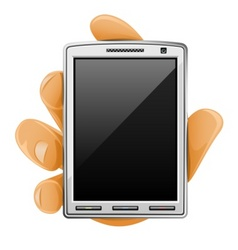 Modern mobile phone in hand vector