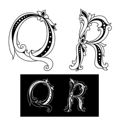 Retro capital letters q and r vector