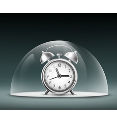Alarm clock under a glass dome vector