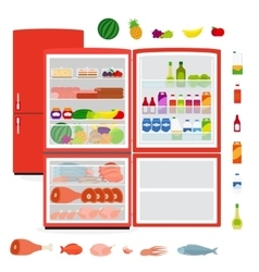 Refrigerator with food vector