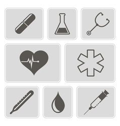 Monochrome icons on the medical theme vector