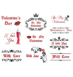 Valentines day calligraphic elements and symbols vector