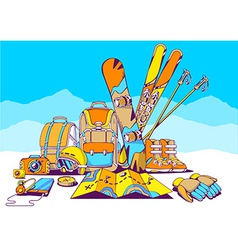 Backpacks and winter travel accessories o vector