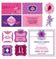 Princess girl birthday set vector