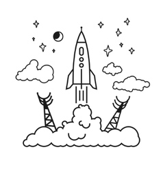 Start of the rocket in clouds vector