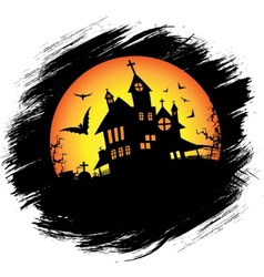 Halloween castle with sun vector