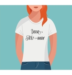 Girl with t-shirt flat mock up template vector