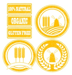 Food orange rubber stamps labels collection for vector