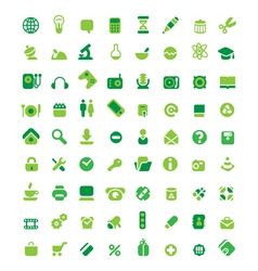 Set of green icons vector