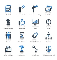 Business icons set 2 - blue series vector
