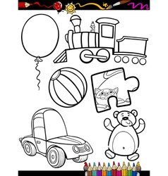 Cartoon toys objects coloring page vector