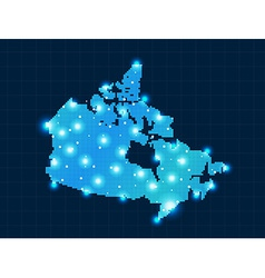 Pixel canada map with spot lights vector