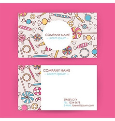 Business card hand drawn candy sweets background vector
