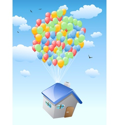 House with balloons flying in the blue sky vector