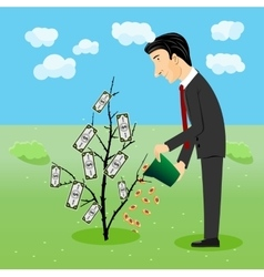 Businessman watering dollar plant vector