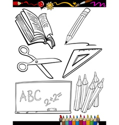 Cartoon school objects coloring page vector