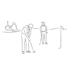 Friends play golf vector