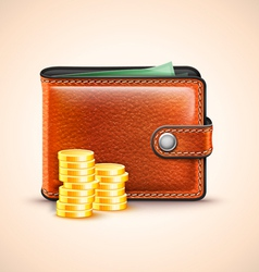 Leather wallet with coins vector