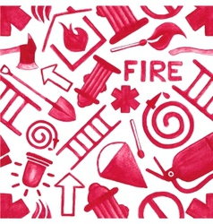 Watercolor background with firefighting symbols or vector