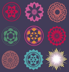 Collection of esoteric flower elements vector