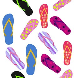 Seamless pattern with flip flops summer background vector