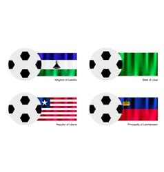 Soccer ball of lesotho libya liberia and liech vector