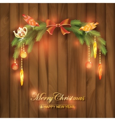 Christmas tree branches decorations toys vector