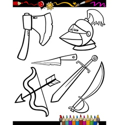 Cartoon weapons objects coloring page vector