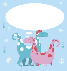 Holiday card with dino characters vector