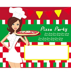 Smiling waitress serving pizza place for your text vector