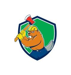 Beaver lumberjack wielding ax shield cartoon vector