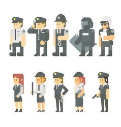 Flat design of police set vector