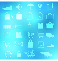 Set of shopping icons on abstract backgrounds vector