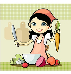 Girl prepares a meal vector