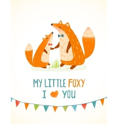 Mother or father fox and foxy child cartoon vector