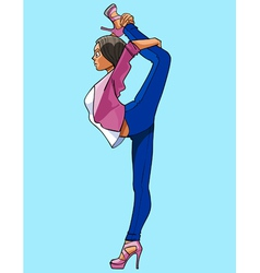 Cartoon woman gymnast standing on one leg vector