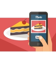 People taking photo of their food vector