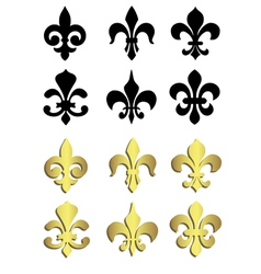 Fleur de lis in black and gold vector