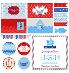 Baby shower nautical set - for party decoration vector