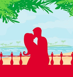 Couple kissing on a beach vector