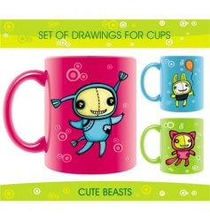 Cups with funny beasts drawings vector