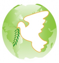 Dove on green planet vector