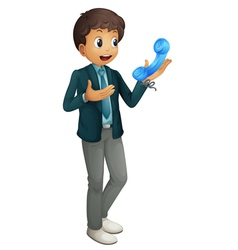 Boy and phone receiver vector