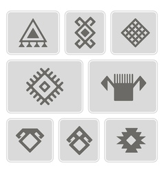Monochrome icons with persian ethnic symbols vector