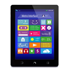 Black tablet pc with metro icons on display vector