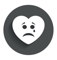 Sad heart face with tear icon crying symbol vector