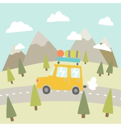 Road trip mountain landscape vector