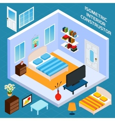Isometric bedroom interior vector