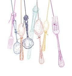 Hanging cutlery elements silhouettes vector